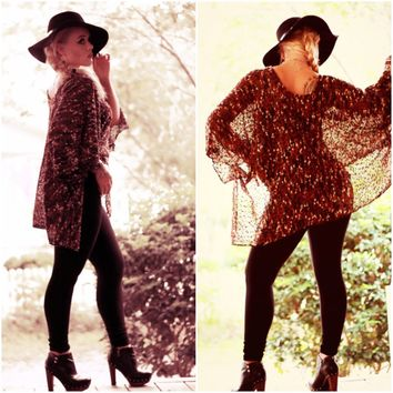 Boho Festival batwing top, Bohemian summer trends, Artsy Boho clothes, Brown Coachella Poncho top, Gypsy cowgirl Rustic, True rebel clothing