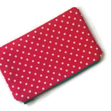 Polka Dots Pouch - Pink Pencil Case - Pink Zip Pouch - Pink Cosmetic Bag - Cute Zip Wallet - Coin Purse - Back to School - Travel Organizer