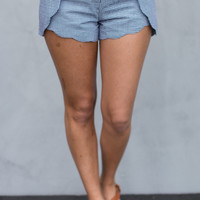Scalloped Gingham Shorts in Navy