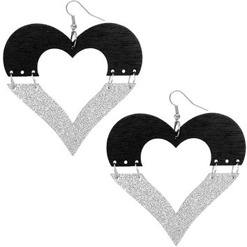 Black Silver Wooden Linked Heart Glitter Earrings