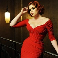 Pinup Couture - 50s Monica Dress in Red Matte Jersey Knit from Laura Byrnes Black