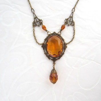 Victorian Jewelry - Art Nouveau Necklace - Amber Honey Yellow Orange