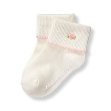 Embroidered Rose Sock