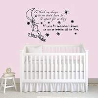 Wall Decals Quotes Winnie the Pooh Quote - I think we dream - Moon Stars Kids Boys Girls Nursery Baby Room Wall Vinyl Decal Stickers Bedroom Murals