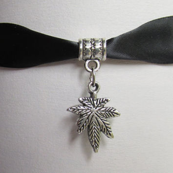 Pot Leaf Choker, Black Satin Ribbon, Pot Leaf Charm Necklace, Marijuana Jewelry, 7 Leaf Cannabis Necklace, Weed Choker, Birth Stone Option