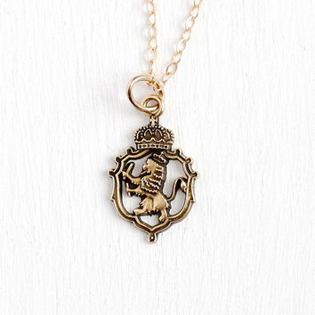 Rampant Lion Charm - Vintage 10k Rosy Yellow Gold Royal Crown Coat of Arms Small Pendant - Retro Figural Animal Dainty Jewelry on G.F. Chain