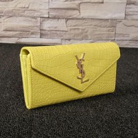 DCCK6HW Yves Saint Laurent YSL' Women Simple Fashion Crocodile Pattern Long Section Double Layer Purse Button Flip Wallet Handbag