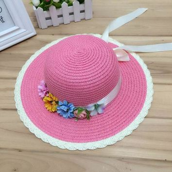 LMF78W 1 Pcs Joker Fashion Women Summer Sun Hat The Flower Bow Parent-Child Straw Hat Beach Hat For Women And Girl 6 Colors