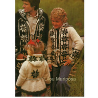3 KNITTING PATTERNS Vintage 70s Knitting Sweater Pattern Boho Hooded Jacket Pattern-Nordic Sweater- Bohemian Clothing CARDIGAN Patterns