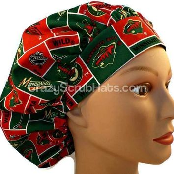 Women's Bouffant Surgical Scrub Hat Cap in Minnesota Wild w/ Elastic and Cord-Lock
