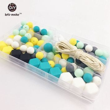 Silicone Beads Set Of Unfinished Hex-geometric Round Beads Teething Nursing Necklace Mint Green and Turquoise Baby Teether