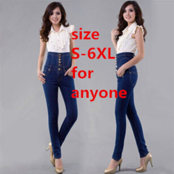 2016 new brand womens spring autumn plus size high waist denim jeans women vintga Single-breasted & Double-breasted jeans S-6XL