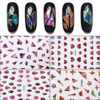 The latest Korean irregular broken glass nail sticker Colorful 3D laser star sky sticker 3D natural shell decal with adhesive