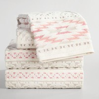 Coral and Taupe Tula Sculpted Towel Collection