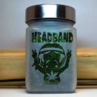 Headband Etched Glass Stash Jar - 420 Gifts - Birthday Gift for Pot Smokers - Recreational Cannabis and Medicinal Marijuana Stash Jars
