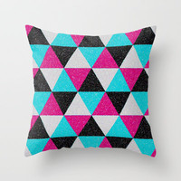 Space Triangles Throw Pillow by MN Art
