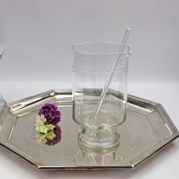 Martini Mixer with Stirrer / Etched Glass / Vintage Barware