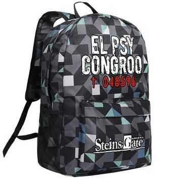 Japanese Anime Bag Steins Gate Cosplay Backpack  EL PSY CONGROO Oxford School Bag Unisex AT_59_4