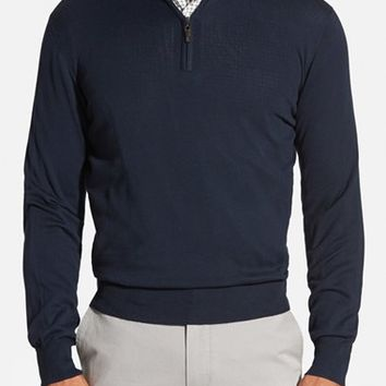 Men's Robert Talbott Quarter Zip Mock Neck Sweater