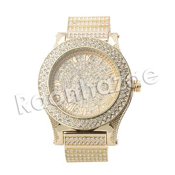 Copy of HIP HOP ICED OUT RAONHAZAE RIHANNA LUXURY GOLD FINISHED LAB DIAMOND WATCH