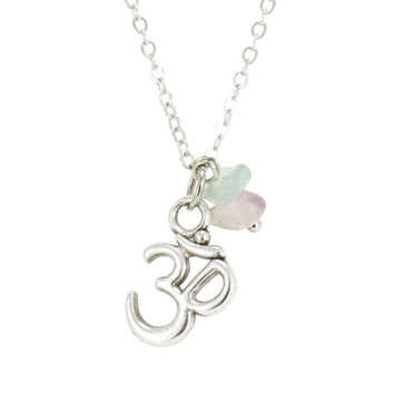 Petite Om Charm Necklace With Natural Gemstones