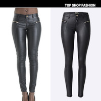 Hot Popular Leather Floral Printed Zipper Trousers Pants