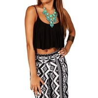 Pre-Order Black Ruffle Crop Top