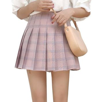 Women Pleat Skirt Preppy Style Harajuku Kawaii Plaid Skirts Cute School Uniforms Lolita Mini Saia Faldas Sweet Jupe SK5089