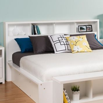 King Size Bookcase Headboard with Storage Shelves in White