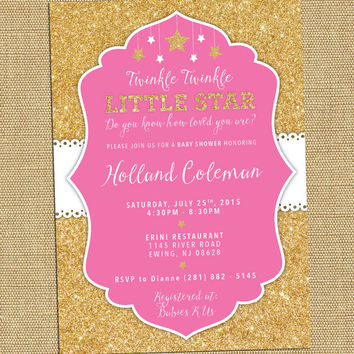 Twinkle Twinkle Baby Shower Invite Twinkle Little Star Invitation Baby Boy Baby Girl Shower Invite Pink & Gold Star Baby Shower Invites
