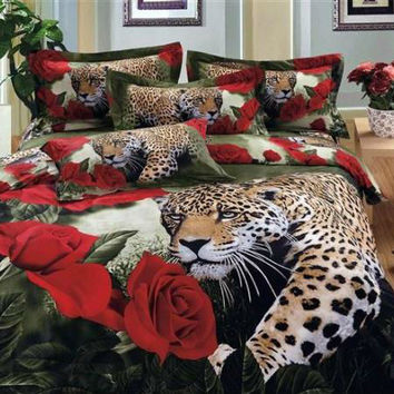 Bed Set 3D Leopard & Red Rose 4PC