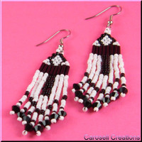Egyptian Ankh Beadwork Dangle Seed Bead Earrings - Black and White