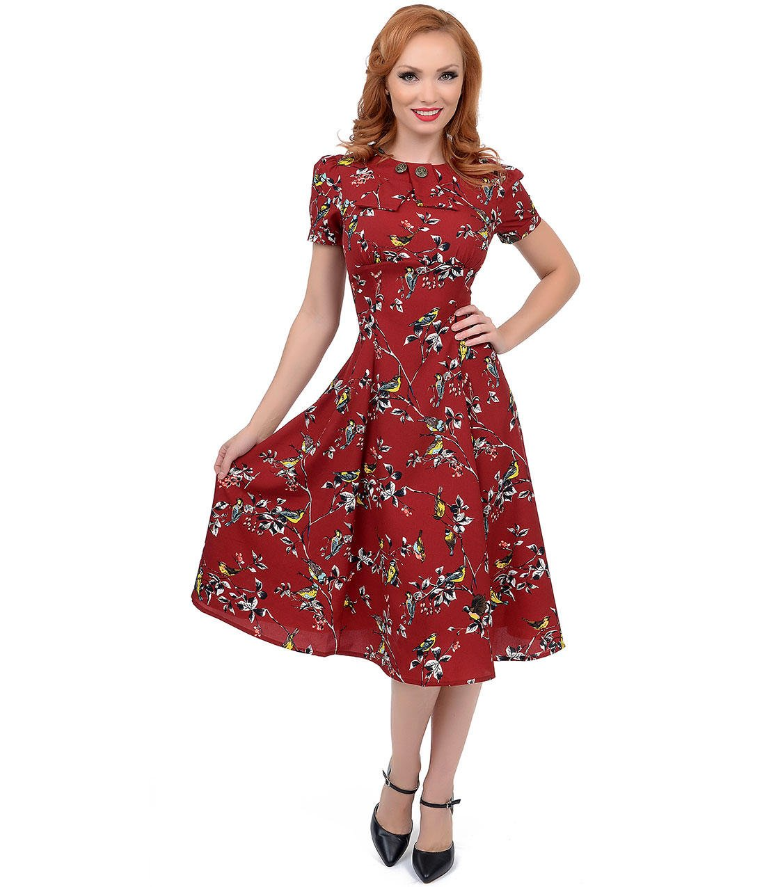 ca7964ee560 Hell Bunny 1950s Style Carmine Red Birdy from Unique Vintage