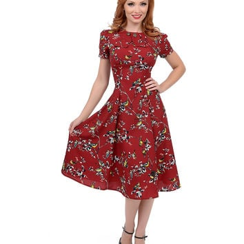 Hell Bunny 1950s Style Carmine Red Birdy Swing Dress