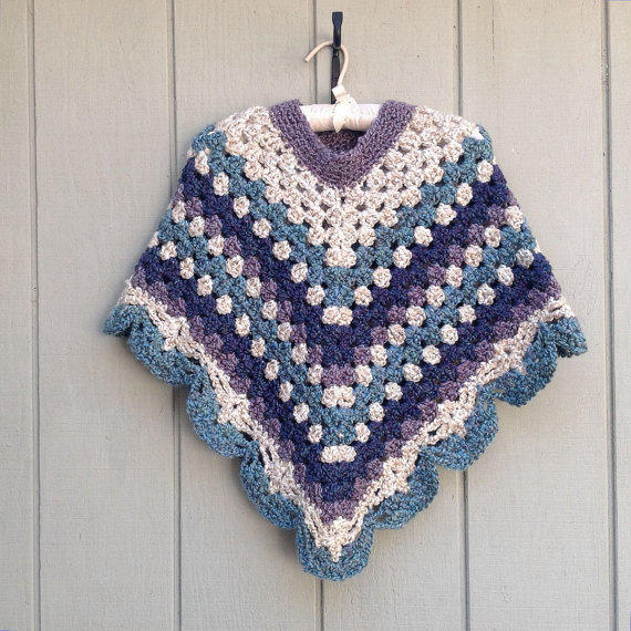 Crochet Poncho For Girls, Petite Womens From Luray Knitwear-8570