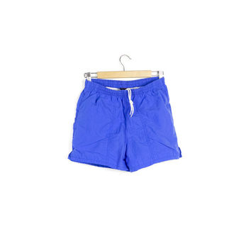 90s blue surf shorts / vintage 1990s / swim trunks / swimwear / retro / neon / surfer / basic / mens small
