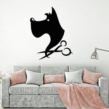 Vinyl Wall Decal Pet Dog Puppy Scissors Beauty Salon Grooming Salon Stickers (2740ig)