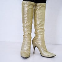 FALL DEAL 60s Boots Vintage Go-go Gold Sparkly Knee High Stretch Space Age  7.5