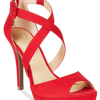 Material Girl Helenah Platform Dress Sandals, Only at Macy's - Red Heels - SLP - Macy's