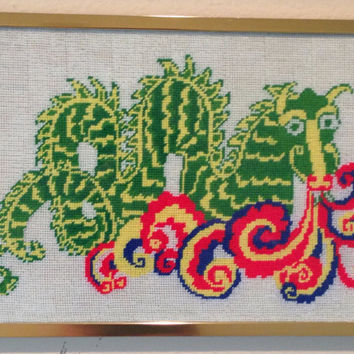Dragon Handmade Framed Needlepoint-Vintage 1970's