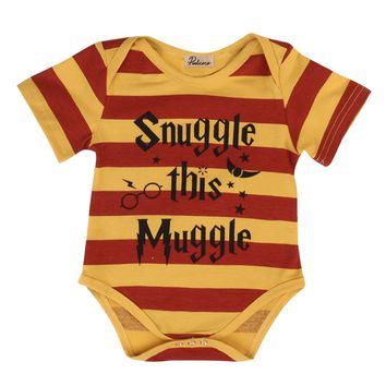 Hot Snuggle This Muggle Harry Potter Inspired Baby Romper Summer Newborn Infant Baby Clothes Striped Toddler Kids Jumpsuit