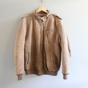 US Free Shipping Suede Bomber Jacket Camel Brown Quilted Leather Jacket Oversize 80s Vintage Size XL #O113A