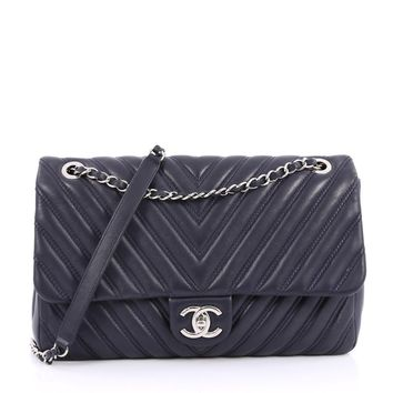 Chanel Pre-Owned: Double Stitch Flap Bag Chevron Lambskin Jumbo | Bluefly.Com