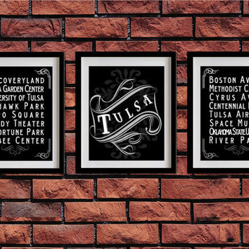 Tulsa, Oklahoma, Typography Art Poster - Vintage Map Typography, Chalk Art - Tulsa's Attractions Wall Art Decoration - 034-S3