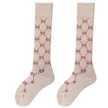 PEAPIH3 GUCCI autumn and winter tide brand female wild double knit tube leg socks Silver + coffee