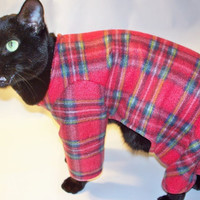 CoolCats Red Plaid Fleece Pajamas for Cats