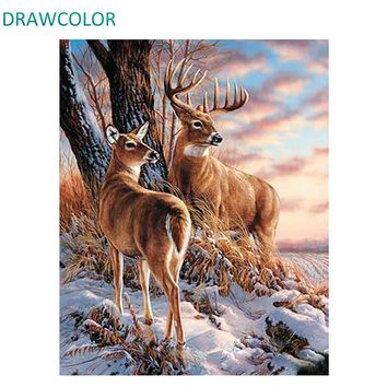 DRAWCOLOR Frame Deers DIY Painting By Numbers Animals Hand Painted On Canvas Drawing By Numbers Modern Wall Art Picture 40x50cm
