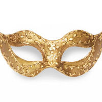 Baroque Gold Masquerade Mask In Antique Look - Metallic Venetian Mask Embellished With Handcrafted Swirls
