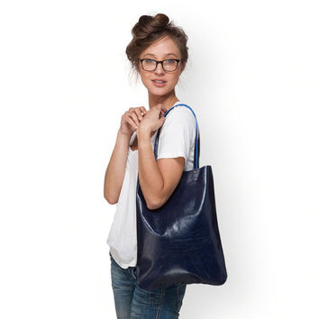 Navy leather handbag by Leah Lerner