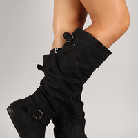 Leatherette Slouchy Buckle Knee High Boot